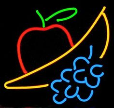 neon fruit sign - Google Search