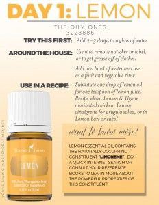 Don't know where to start with your Premium Starter Kit oils?! Join the 14 day challenge where we go over each oil in your kit! Start it off with Day 1, Lemon!!