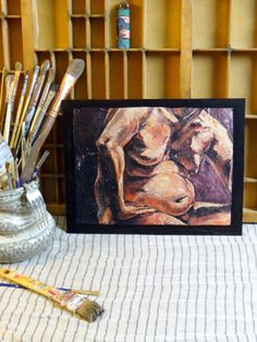 Wood Print  The MIDDLE of the MAN  Original Painting by ETsARTs, $30.00