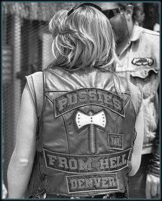 "fine art image of ""Pussies From Hell"" A great black and white portrait of a hot biker babe who loves Rt. 66!  #Route66 #VintageSigns #NeonSigns #MotherRoad #RoadsideAmericana #GhostSigns #Retro #VanishingAmerica #SmallTown #Abandoned #Rustic #Decay #RoadsideAttraction"