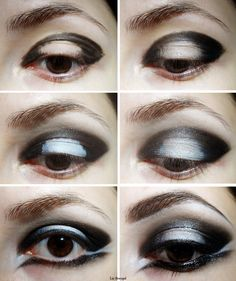 gothic makeup tutorial | Prime your eyelids and start to fill your lids with black pencil ...