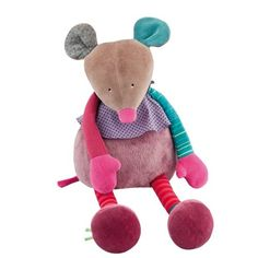 Large mouse doll: Large and soft mouse, appealing and elegant with her mixture of colours and textures. Very aesthetic and decorative, it is also great to cuddle. French Fabric, Toy 2, Fabric Toys, Le Jolie, Toddler Gifts, Kids Toys, Doll Clothes, Sewing Projects, Sewing Ideas
