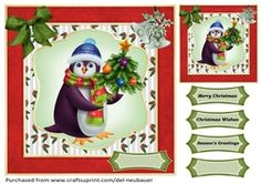 Pengys Tree on Craftsuprint - View Now! Cup Design, Quick Cards, Penguins, Gift Tags, Card Making, Christmas, Gifts, Xmas, Presents