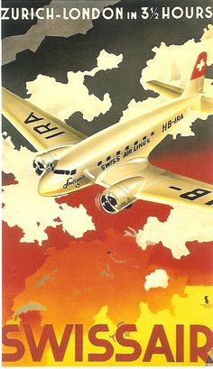 Swissair, vintage travel poster, showing airplane over outline map of Switzerland Old Posters, Vintage Travel Posters, Vintage Ads, Poster Ads, Advertising Poster, Poster Prints, Art Print, Hotel Logo, Travel Ads