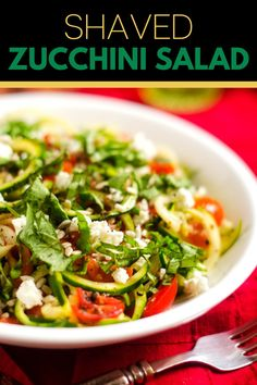 This Shaved Zucchini Salad is pretty spectacular! I am obsessed with the contrast of crisp-tender zucchini noodles, crunchy sunflower seeds, sweet tomatoes and creamy goat cheese. A simple red wine vinaigrette dressing and a sprinkling of basil brings everything together. This recipe is infinitely adaptable, so feel free to play with it and adjust it to your liking.
