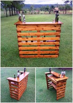 Creative Ideas for Recycled Wood Pallets Wood Pallet Wine Bar Diy Bar, Diy Home Bar, Bar Table Diy, Woodworking Projects Diy, Diy Pallet Projects, Teds Woodworking, Woodworking Beginner, Woodworking Classes, Garden Projects