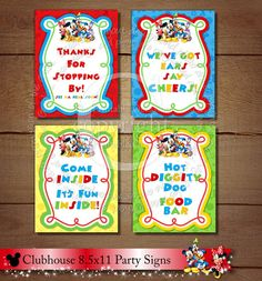 Mickey Mouse Clubhouse Signs, Set of Four Clubhouse Birthday Party Signs, DIY Printable Clubhouse Party Signs, Mickey Mouse Signs Party Printables, Mickey Printables, Baby Shower Signs, Mickey Mouse Clubhouse, Party Signs, Muted Colors, Color Card, Party Invitations, Online Printing