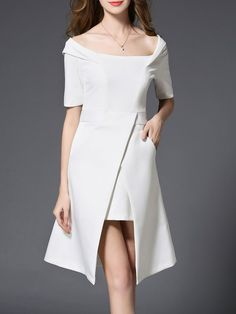 Shop Midi Dresses - Black Off Shoulder Slit Sheath Short Sleeve Midi Dress online. Discover unique designers fashion at StyleWe.com.