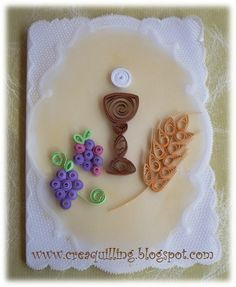 First Communion Quilling Card by Pilys-art on DeviantArt Quilling Paper Craft, Quilling Cards, Paper Crafts, Quilling Patterns, Quilling Designs, Quilled Creations, Religious Symbols, First Holy Communion, Origami