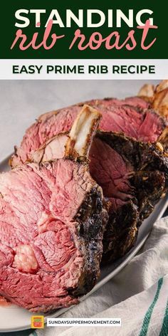 The best Standing Rib Roast Recipe! A Standing Rib Roast is easier to make than you might think! It is the quintessential holiday roast centerpiece. Prime Rib Roast Recipe Bone In, Bone In Rib Roast, Prime Rib Of Beef, Beef Rib Roast, Prime Rib Recipe, Prime Rib Bone In, Roast Recipes, Grilling Recipes, Cooking Recipes