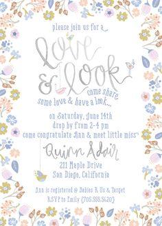 Sip & See baby shower invite // Floral baby girl shower invitation via Lou & Letter on Etsy