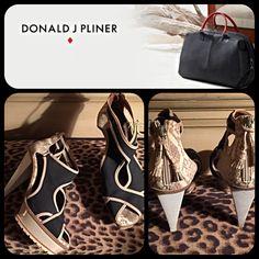 Designer Donald Pliner Black Snakeskin Platforms