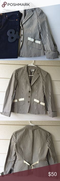 """WORTH Petite Stripe Jacket WORTH Petite Jacket in grey with cream stripe.  Faux welt chest pockets. Front flap pockets still sewn shut. Tie back detail. Folded sleeves. 3 front snap closures. Linen/ Cotton/ Elastin. 16"""" pit to pit. 21"""" long. Never worn. Excellent condition. Worth Jackets & Coats"""