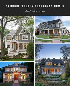 Love craftsman homes with those wrap around porches? If so, you'll love this round up. Check out some of my favorite craftsman homes for inspirations for your next house.  |  House Envy – Craftsman Style Homes | The Blissful Bee