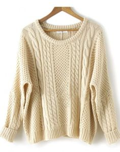 Apricot Batwing Long Sleeve Pullovers Sweater  #SheInside