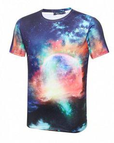 a140bb3bc80a 3D galaxy t shirt for teenage guys short sleeve plus size tee Galaxy  Shorts