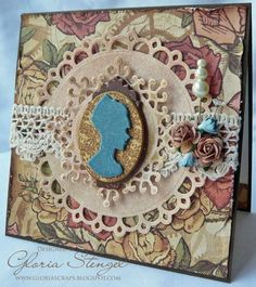 Absolutely charming Steampunk Debutante card by @Gloria Stengel. Love how she made that cameo - click to see how! #graphic45 #cards