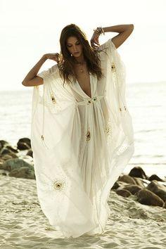 Palfashion XL Size Beading Decoration Bohemian Solid Pleated Ice Cotton Dress