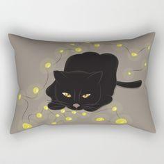 Christmas cat on beige Rectangular Pillow by hufsetufsa | Society6