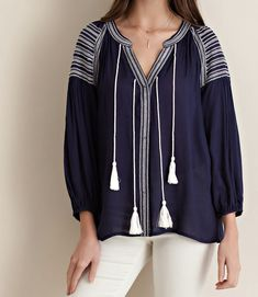 Taylor Blouse Navy from ascot   hart