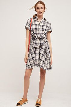 Plaid Tie-Waist Shirtdress - anthropologie.com