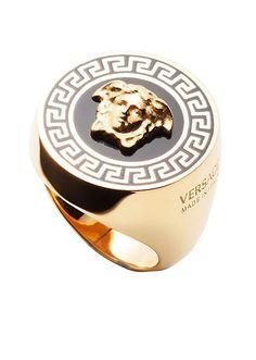 Versace Men Greek Line Enamel Ring