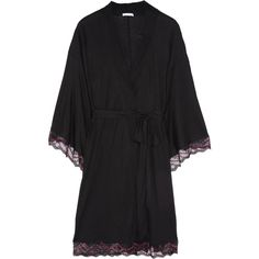 Eberjey Mae lace-trimmed jersey kimono ($65) ❤ liked on Polyvore featuring intimates, robes, robe, pajamas, lingerie, sleepwear, black, lacy lingerie, lace lingerie and lace kimono robe