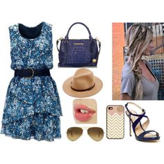"""Sem título #90"" by ana-caroline-gomes on Polyvore.  Blue flirty floral dress with hat.  Matching iphone case by togildthelily"