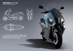 Electric Maxi Scooter commissioned by MKLT (Valencia) in Futuristic Motorcycle, Motorcycle Art, Futuristic Cars, Motorcycle Design, Maxi Scooter, Bike Sketch, Scooter Custom, Scooter Design, Bike Photoshoot