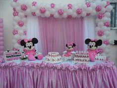 1st Birthday Princess, Girl 2nd Birthday, Minnie Birthday, Baby Shower Princess, Minnie Mouse Party, 1 Year Birthday Party Ideas, Birthday Party Design, 2nd Birthday Parties, Birthday Party Decorations