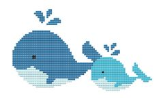 Baby Nursery Cross Stitch Pattern Adorable Whales por LeiaPatterns