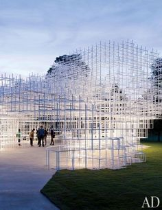A cloudlike edifice of intersecting steel bars, the 2013 Serpentine Gallery Pavilion in London was designed by Sou Fujimoto.