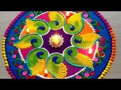 Beautiful FESTIVAL'S rangoli designs with colours by Rathod rangoli for navratri Easy Rangoli Designs Videos, Easy Rangoli Designs Diwali, Diwali Special Rangoli Design, Colorful Rangoli Designs, Rangoli Ideas, Rangoli Designs Images, Beautiful Rangoli Designs, Simple Rangoli, Mehandi Designs