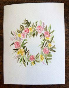 Original floral wreath watercolor painting by PleasantAvenue, $12.00