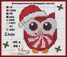 Christmas owl pattern by Dinha Ponto Cruz