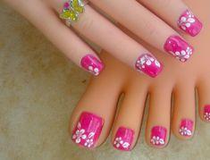 Toe Nail Art Design Ideas: Toe Nail Designs Images Images Of Cool Nail Designs Toe Nail Flower Designs, Flower Toe Nails, Sparkle Nail Designs, Nail Art Designs 2016, Cute Toe Nails, Pedicure Designs, Simple Nail Art Designs, Nail Polish Designs, Toe Nail Art