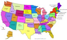 FREE printable United States US Maps. Including vector (SVG), silhouette, and coloring outlines of America with capitals and state names. United States Map Printable, Printable Maps, Free Printables, States And Capitals, U.s. States, Us State Map, Us Map, Page Usa, Viajes
