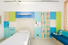 British designer Morag Myerscough had to meet strict clinical regulations to bring her bright colours to the wards of this children's hospital.