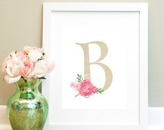 Floral Monogram Letter E Printable Wall Art by MadisonLeeDesigns