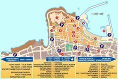 Map of Rethymno (Rethymnon), Crete, Greece.