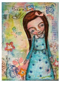 Blue dress girl  art mixed media collage Print 8 by SusanaTavares, $15.00