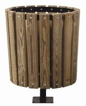 "Our trash receptacle holders offer an attractive yet simplistic design that will make the perfect addition to your commercial outdoor spaces. These holders are designed to hold a 32 gallon or 55 gallon garbage can. Choice of 2"" x 4"" treated pine wood slats or recycled plastic slats. The all welded frame construction provides added strength and durability."