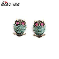 KISS ME New Design Vintage Personality Imitation Gemstone Owl Women Stud Earrings Fashion Jewelry