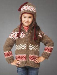 Очаровательный комплект для девочки, который состоит из жакета спицами и шапки с ушками. Жакет выполнен с рукавом реглан и вяжется