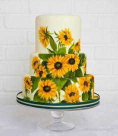Sunflower wedding cake by http://cakesbykrishanthi.co.uk