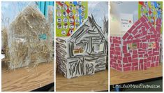 three pigs houses  using straw, sticks, and 'bricks' from red paper (or could paint sandpaper red and cut bricks from that) Preschool Arts And Crafts, Preschool Activities, Three Little Pigs Houses, Brick Crafts, Nursery Rhymes Preschool, House Ornaments, Farm Theme, Red Paper, Classroom Displays