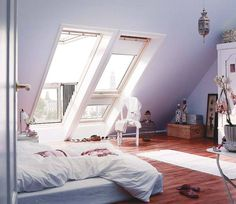 love those long windows in attic for more light.
