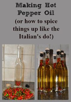 When in Italy, we found Hot Pepper Oil was a common flavor enhancer that was used instead of hot pepper flakes - the flavor is smoother. And, it's easy to make - here's how. Hot Pepper Oil Recipe, Hot Oil Recipe, Hot Pepper Recipes, Hot Sauce Recipes, Hot Pepper Sauce, Real Food Recipes, Hot Peppers In Oil Recipe, Spicy Oil Recipe, Flavored Olive Oil