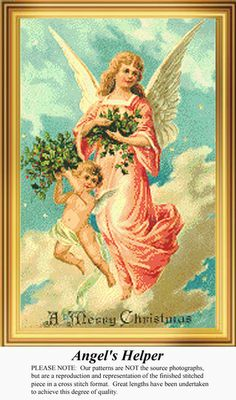 Angel's Helper, Vintage Counted Cross Stitch Pattern. Kit and Digital Download Also Available #crossstitch #123stitch
