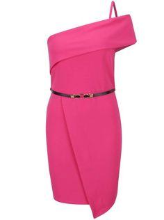 Dámské šaty Elegant červené. Růžové asymetrické šaty s páskem Miss Selfridge 254260544e